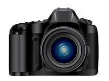 Camera. With lens zoom objective Royalty Free Stock Photo