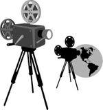 Camera. Cinema camera for forum or poster Stock Photos