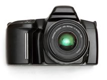 Camera. A black SLR camera royalty free stock images
