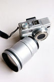 Camera. And lens isolated on whtie backgorund Stock Image