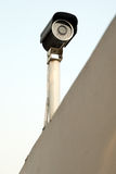 Camera. Fixed on the wall oversee the construction field Stock Photography