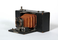 Camera 2. Old camera with orange bellows royalty free stock photos