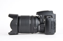 Camera. Black digital camera isolated on white background Royalty Free Stock Photography