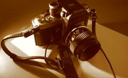 Camera. Photo of a manual Camera. Sepia Monochrome If you can, please leave a comment about what you are going to use this image for. It'll help me for future Royalty Free Stock Photography