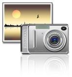 Camera. On a landscape background stock illustration