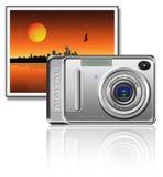 Camera. On a landscape background vector illustration