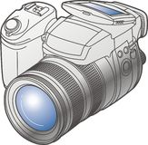 Camera. Modern digital vector camera isolated from background Royalty Free Stock Photography