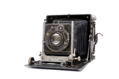 Camera. Old  retro camera on a white background Stock Photos