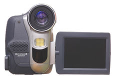 Camera. Videocamera on a white background with the display royalty free stock image