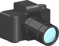 Camera. A black camera with telephoto lens vector illustration