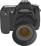 Camera. Black digital camera isolated on white background. Vector illustration Royalty Free Stock Photo