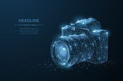 Camera. Abstract 3d polygonal wireframe modern professional camera isolated on blue. stock photos