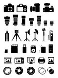 Camera Accessories Icons Stock Image
