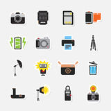 Camera and accessory sticker icon set. Vector Stock Images