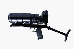 The camera is actually held in the same manner as a rifle. On white background Stock Photo