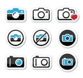 Camera analogue and digital icons set Stock Photography