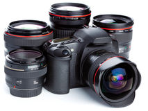 Camera And Lenses Royalty Free Stock Photos