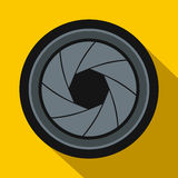 Camera aperture icon in flat style Royalty Free Stock Photography