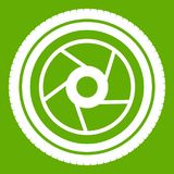 Camera aperture icon green. Camera aperture icon white isolated on green background. Vector illustration Royalty Free Stock Photo