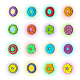 Camera aperture icons set, pop-art style Royalty Free Stock Photo