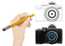 Camera as isolated human hand drawing vector Stock Images