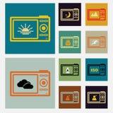 Camera back scene icons concept ideas vintage colo. Camera back scene icons set vintage color, Vector illustration internet design elements 10 eps Royalty Free Stock Image