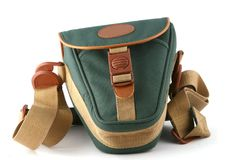 Camera bag. Green camera bag isolated on white Royalty Free Stock Images