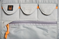 Camera bag detail. Pockets for memory cards Royalty Free Stock Photo