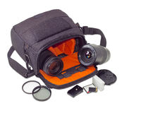 Camera bag, photo lenses and some other photo accessories Stock Photography