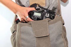 Camera in the bag Stock Photography