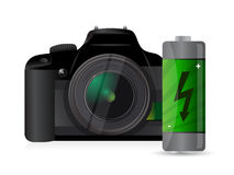 Camera and battery Stock Photography