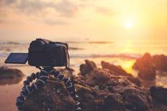 Camera at beach Royalty Free Stock Images