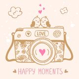 Camera birds. Illustration sketch vintage retro photo camera with cute birds vector illustration