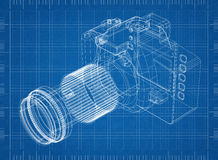 Camera blueprint – 3D perspective. Shoot of  the Camera blueprint – 3D perspective Royalty Free Stock Image