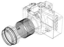 Camera blueprint – 3D perspective. Shoot of the Camera blueprint – 3D perspective Stock Images