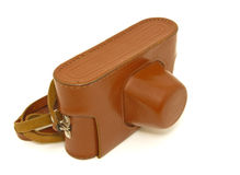 Camera in Brown Leather Case Royalty Free Stock Photo