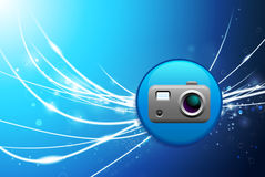 Camera Button on Blue Abstract Light Background Stock Photography