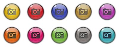 Camera Button icon 3D Multicolor. Camera Button icons and buttons Symbol sing 3d Multicolor; goldenm sky blue, dark blue, yellow, purple, red, orange, pink Stock Image