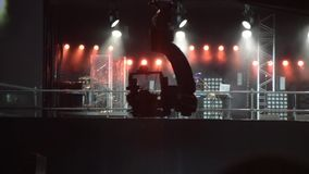 The camera on the camera crane moves in concert