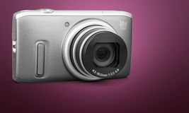 Camera. Digital  photography single object lens silver digicam Stock Photography