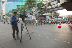 Camera and Camera man from Thailand news channel recording  Stock Image