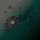 Camera,camera roll fil, circles on a dark background. Royalty Free Stock Photos