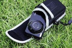 Camera. S that use film as a grass background Stock Photography