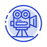 Camera, Capture, Film, Movie, Professional Blue Dotted Line Line Icon royalty free illustration
