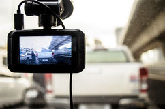 The Camera in Car. A camera in car has on and recording for the traffic jam in the morning Stock Images