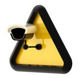 Camera cctv alert sign isolated. Closed circuit television CCTV alert sign with real camera isolated on white Stock Photography