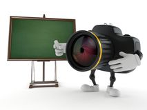Camera character with blank blackboard. Isolated on white background. 3d illustration Stock Images