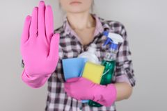 Camera chores clean clear chemicals sanitize routine work worker stock images
