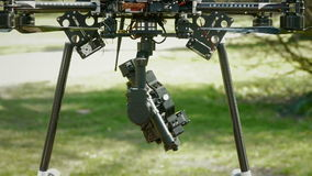 Camera clamped on a drone stock video