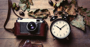 Camera and clock Stock Images